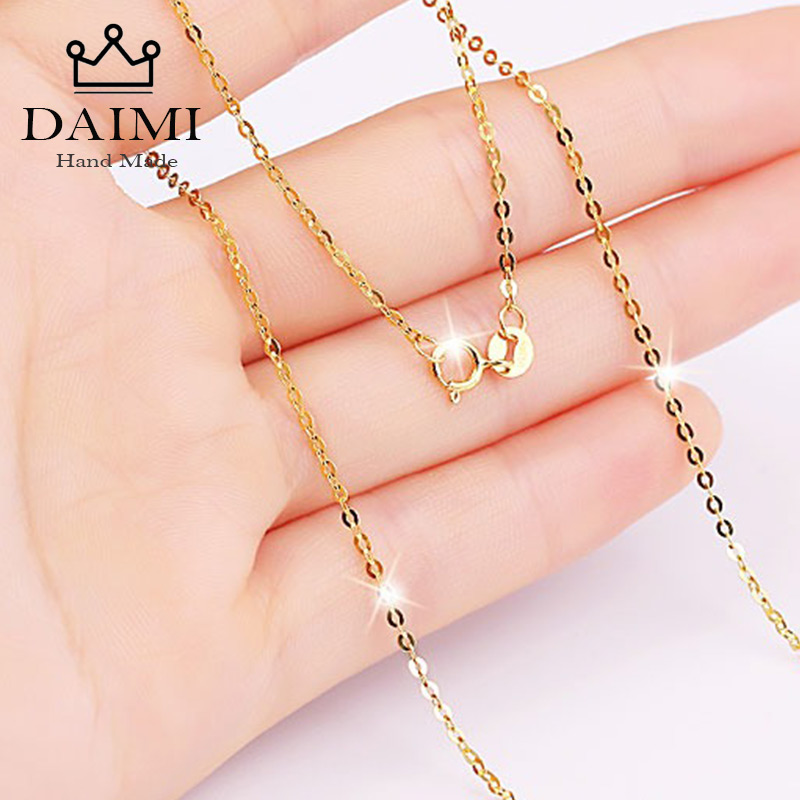 DAIMI Genuine 18K White Yellow Gold Chain Necklace Pendant 18 inches au750 Jewelry Necklace Women Fine