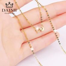 DAIMI collier authentique 18K pour femmes, bijoux avec pendentif 18 pouces, blanc, jaune et or, au750, vente en gros
