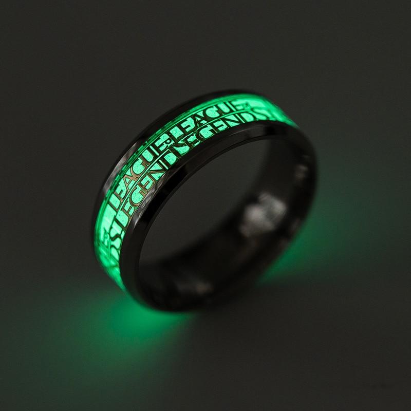 Popular LOL Games Stainless Steel Men Ring Fashion League ofLegends Game Nightclub Jewelry Punk Glow Luminous Finger Rings