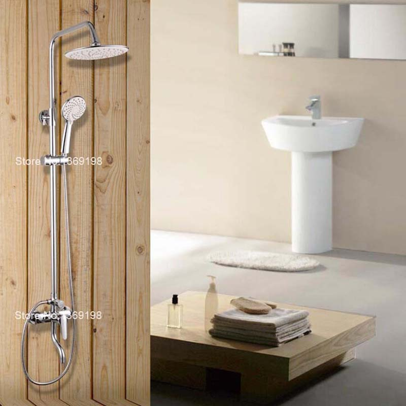 bathroom shower faucet with chrome polished mixer and slide bar rain shower faucets head shower set