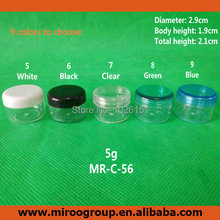 Free Shipping 100pcs craft 5g 5ml colorful sample jars sample pots 5g 5ml cosmetic jars 5g