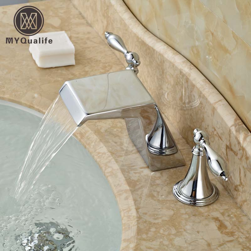 Chrome Brass Widespread 3 Holes Basin Sink Faucet Bathroom Mixer Tap Dual Handles