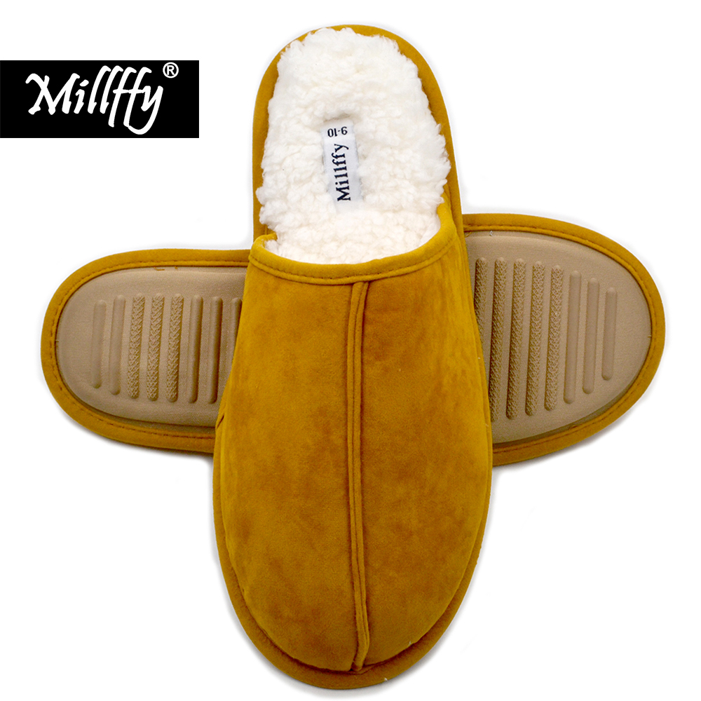 Millffy Cashmere Cozy slippers women Men's Comfort Memory Foam Slippers Fuzzy Plush Slip-on House Shoes Scuff Fluff Slippers slip on design fuzzy bow slippers