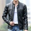 Новый мужской Кожа короткая тонкая одежда дизайн стенда воротник случайные мото кожаная куртка Мужчины повседневная весте ан cuir
