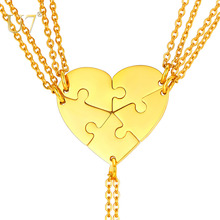 U7 BFF Personalized Necklace for 5 Stainless Steel Couple Pendant Love Heart Matching Set Mothers Day Gift Free Engraving P1241