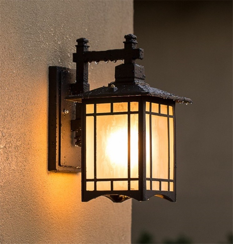 Image 5 - Retro Outdoor Lighting Wall Lamps Porch Lights Japanese Lantern Waterproof Corridor Garden Wall Light Outdoor Luminaire-in Outdoor Wall Lamps from Lights & Lighting