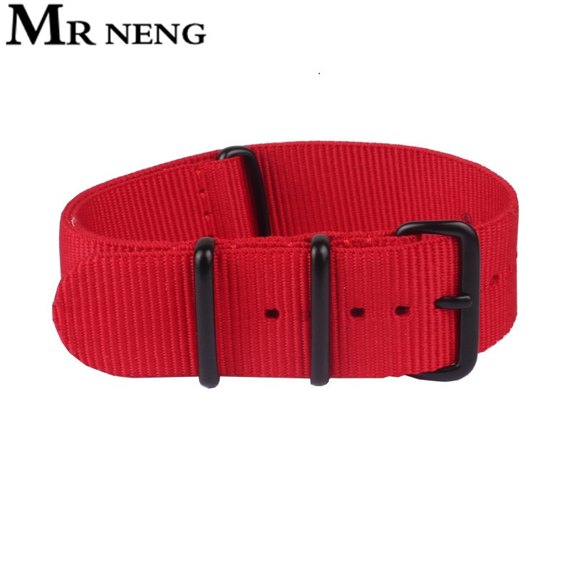 MR NENG Watchband 20 22mm Red Color Nato Nylon Watch Strap Vintage Watch Band+Black 304 Stainless Buckle Watchband 20mm 22mm d 32 fashion purple red fish skin leather watch strap 24 22mm watchband with buckle