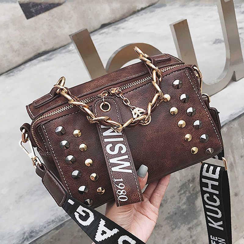Female Bag Studded Retro PU Leather Messenger Ladies Shoulder Bag Handbags  Woman Bags Designer Small Handbags a230d4201390