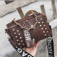 Female Bag Studded Retro PU Leather Messenger Ladies Shoulder Handbags Woman Bags Designer Small For Girls Bolsa