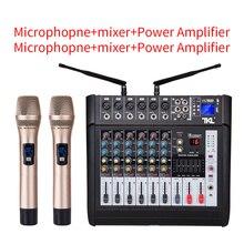 6 канальный цифровой микрофон усилитель звукового микшера консоли Мощность профессиональный звуковой микшер караоке с USB