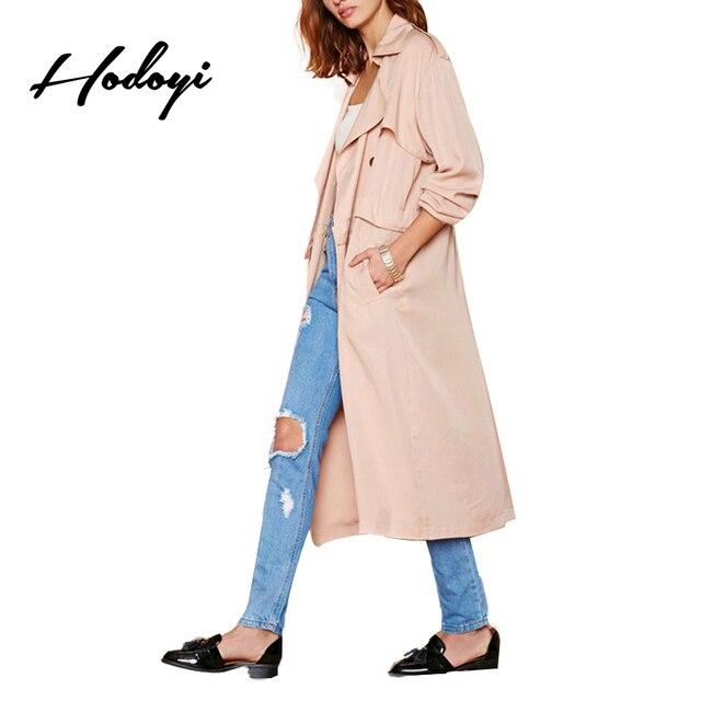 Hodoyi Женщины Мода Новые Осень Твердые Краткая Двойной Брестед Длинное Пальто 2 Цветов С Длинным Рукавом Съемная Плащ