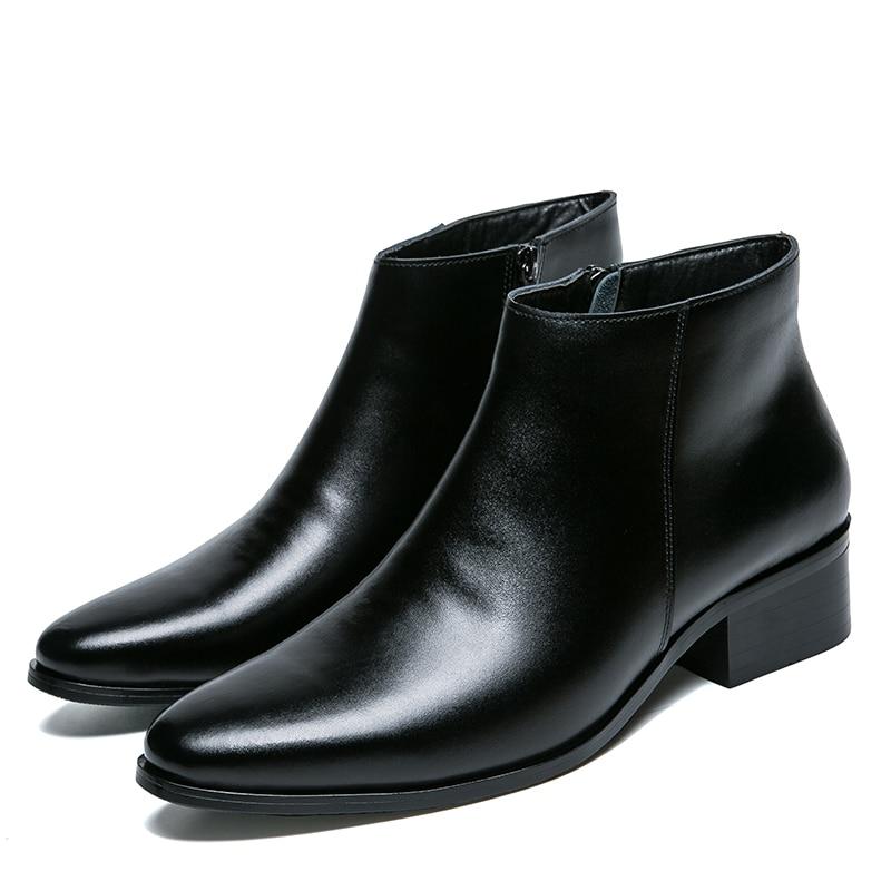 Hommes bottines de haute qualité confortable noir mariage robe formelle chaussures hommes d'affaires - 4