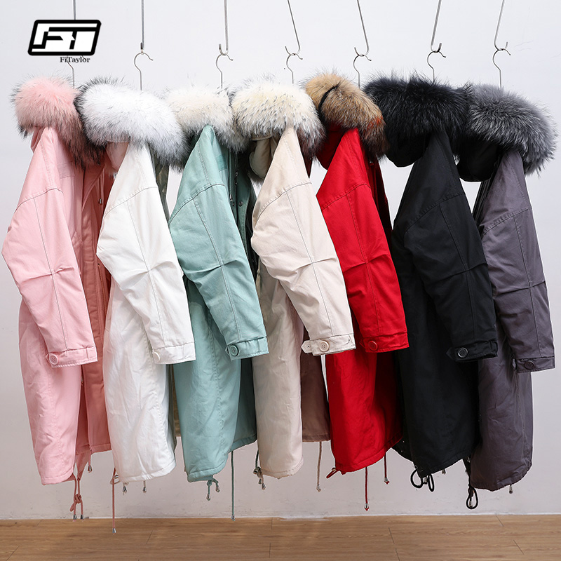 Fitaylor New Genuine Raccoon Large Fur Collar Hooded Women Jacket Winter White Duck Down Parkas Casual Warm Snow Loose Outerwear