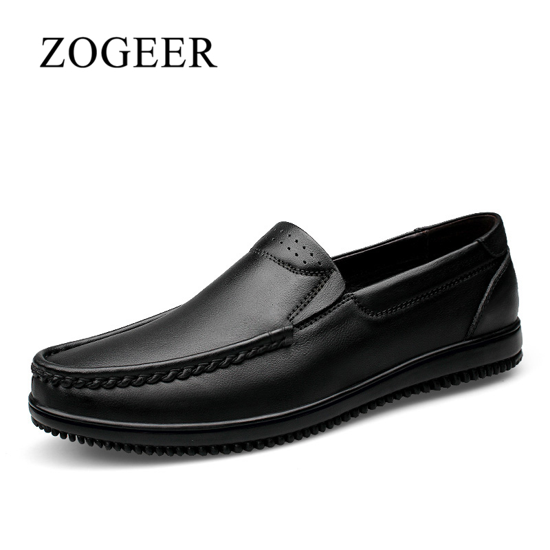 Men Loafers, Big Size 38-47 Genuine Leather Mens Shoes Casual, 2018 New Fashion Comfortable Men's Driving Shoes, ZOGEER Brand big size men work casual shoes fashion mens loafers luxury genuine leather lace up flat father driving shoes lmx b0024