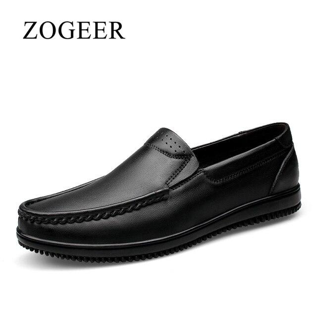 ZOGEER Talla 38-47 nuevo zapatos de los hombres, Transpirable Cuero geniuno zapatillas hombre mocasines tenis, 2017 Moda calzado zapatos hombre casual