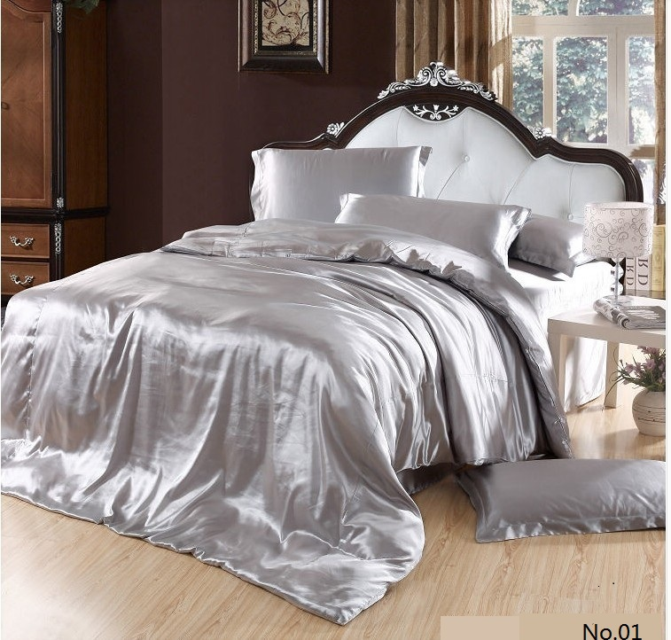 7pcs Silver Satin Silk Bedding Set California King Queen