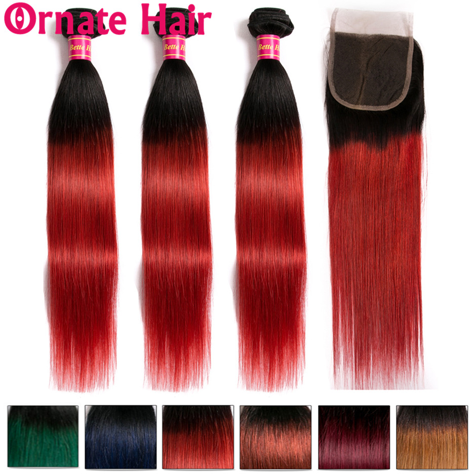 Ombre Colored Peruvian Straight Human Hair Bundles With Lace Closure Free Part Ornate Non Remy Hair