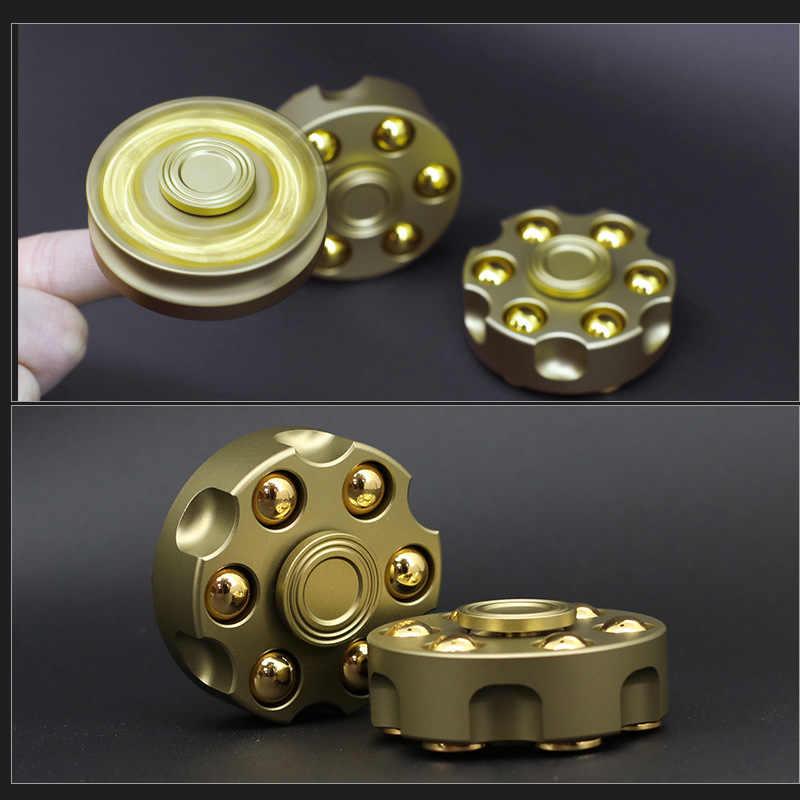 Mylitdear Unik Kuningan Pistol Revolver Peluru Fidget Spinner Tembaga Tangan Pemintal Logam Stres Figet Spiner Tahan Lama Jari Spinner