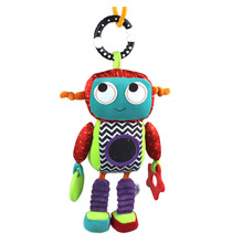 Puzzle Baby Toy 0M+ Soft Plush 26cm Robot Cute Android Baby Rattle Ring Bell Crib Bed Hanging Doll
