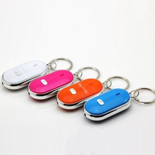 1pc LED Light Key Finder Find Lost Keys Chain Keychain Whistle Sound Control(China)