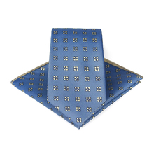Bridegroom Wedding Business Men Tuxedo Suit Imitated Silk Sky Blue Flower Embroidery Pocket Square Towel Handkerchief Tie Set