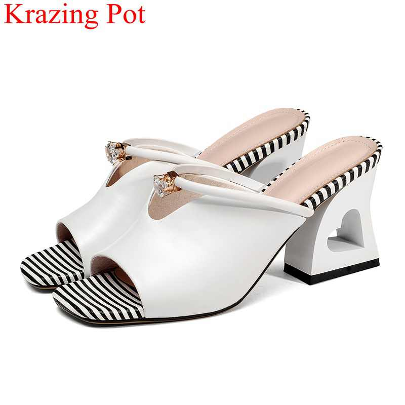 new arrival peep toe cow leather high heels women sandals crystal fretwork heels outside slippers sweet mules summer shoes L37