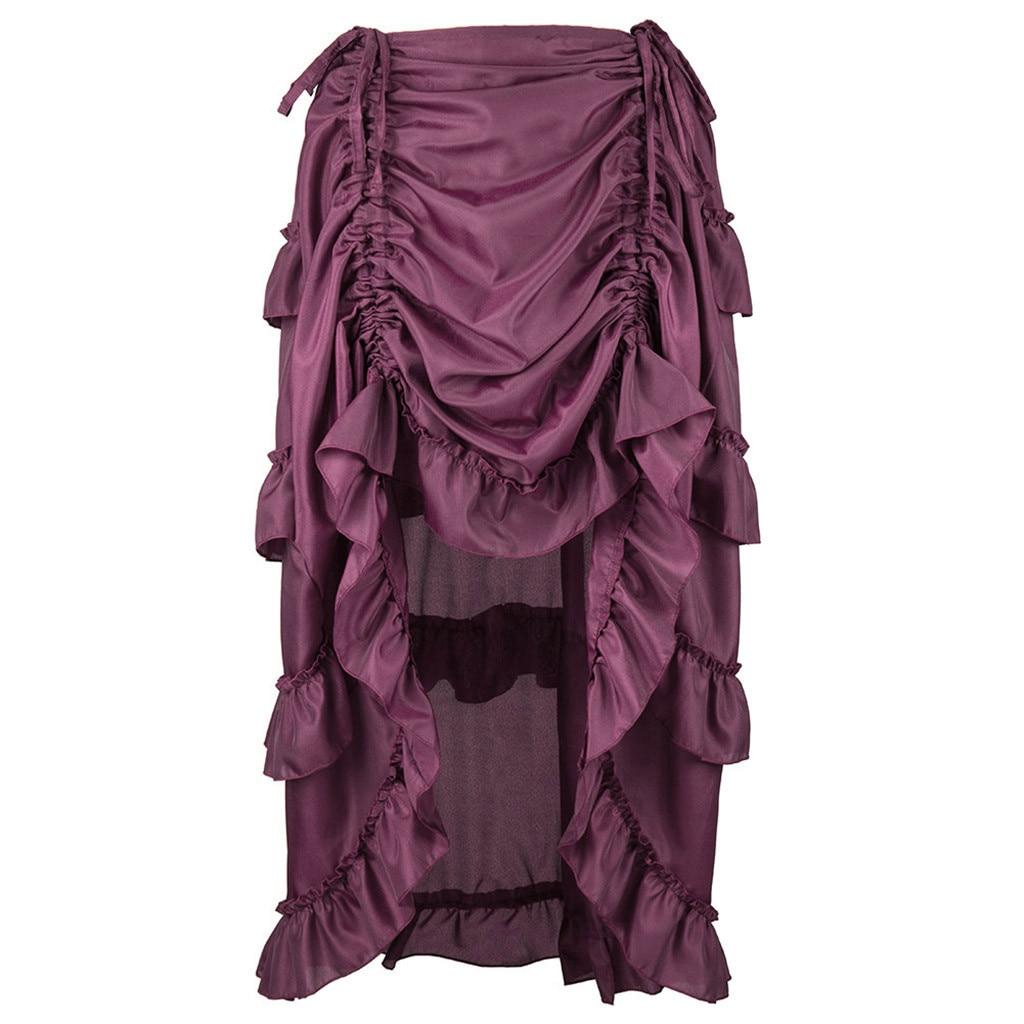 Faldas largas para mujer de Steampunk gótico falda de volantes pirata Falda Faldas envío-9671