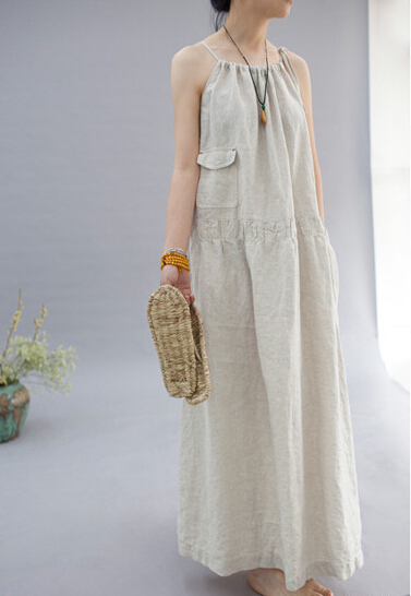 a4c436a1a9 2018 summer style new art women casual dress loose cotton linen spaghetti  strap dress N377-in Dresses from Women s Clothing on Aliexpress.com