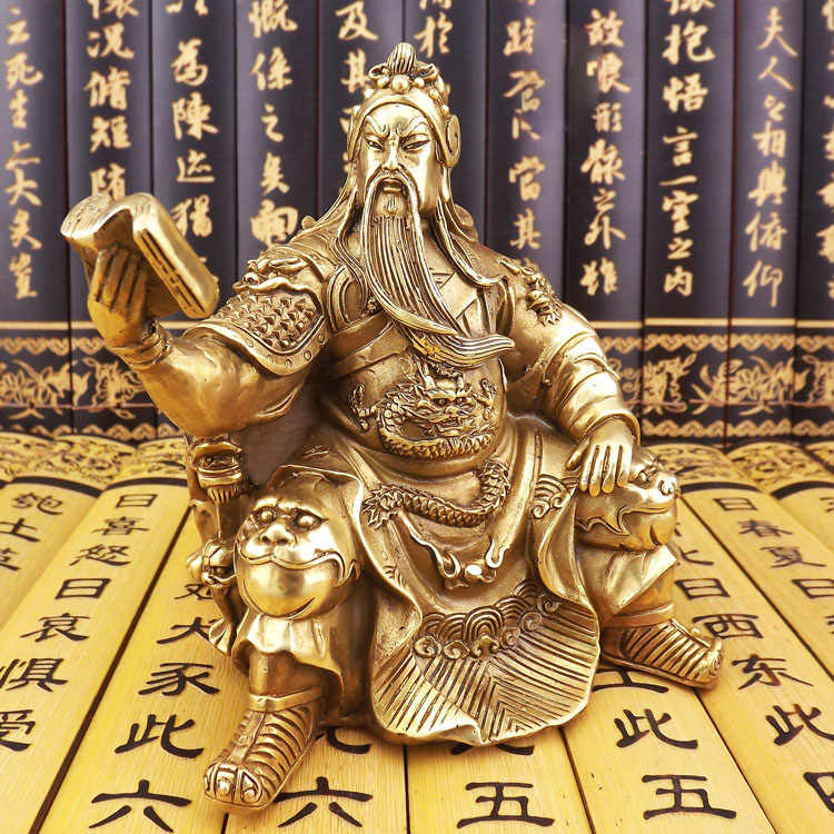 Copper statue of Guan Gong, buddha ornaments, statues, Guan Yu, the God of wealth