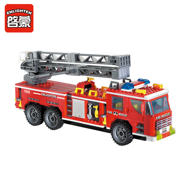 ENLIGHTEN 607Pcs Fire Rescue Truck Model Building Blocks Sets Plastic DIY Educational Toys for Children Bricks Block Brinquedos hot city fire rescue ladder engine truck building block fireman figures bricks educational toys for children gifts