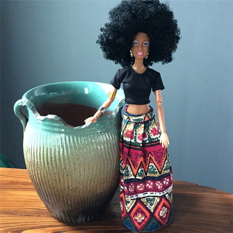 Baby Movable Joint African Doll Toy Black Doll Best Gift for Girls Children Baby Birthday Christmas Gift