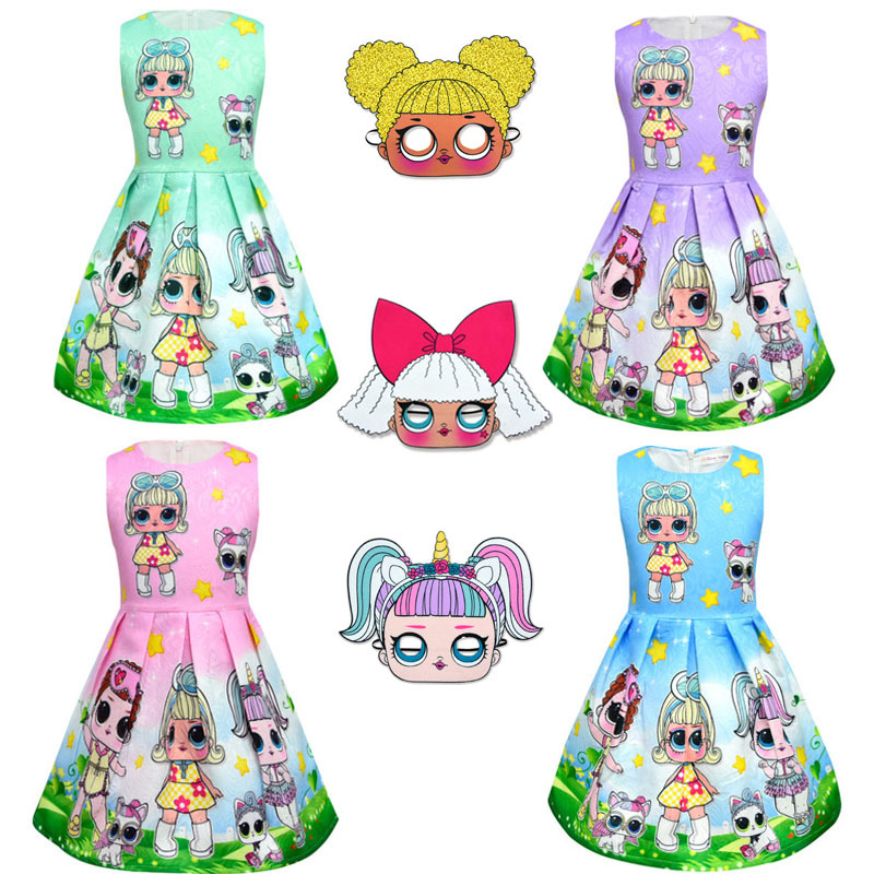 Lol Dolls Baby Dresses Summer Cute Elegant Dress Kids Party Christmas Costumes Children Clothes Princess Lol Girls Dress 3-10Y
