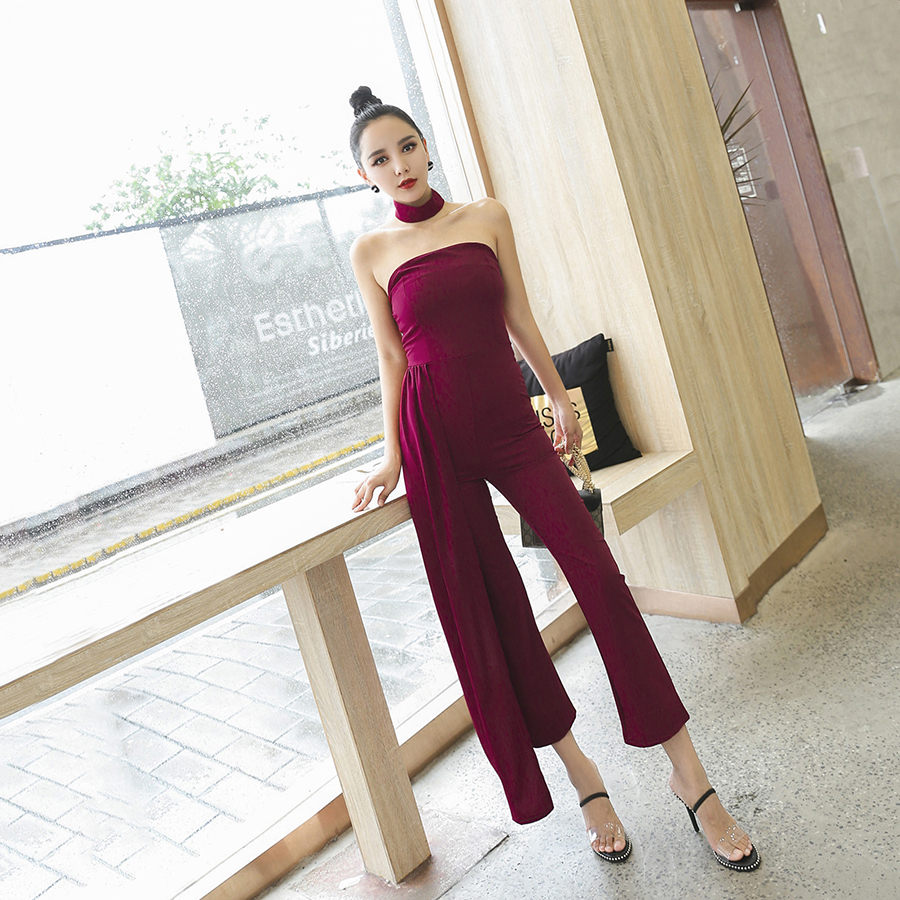 bd85f0ff025 New Summer Wine Red Sexy Ladies Off Shoulder Jumpsuit Vintage Ankle Length  Pants
