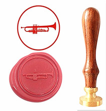 Music Instrument Trumpt Vintage Custom Picture Logo Luxury Wax Seal Sealing Stamp Brass Peacock Metal Handle Gift Set