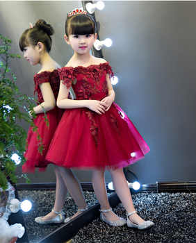 New Shoulderless Flower Girls Dresses For Wedding Appliques Formal Girl Birthday Party Dress Red Lace Princess Ball Gown - DISCOUNT ITEM  27 OFF Mother & Kids