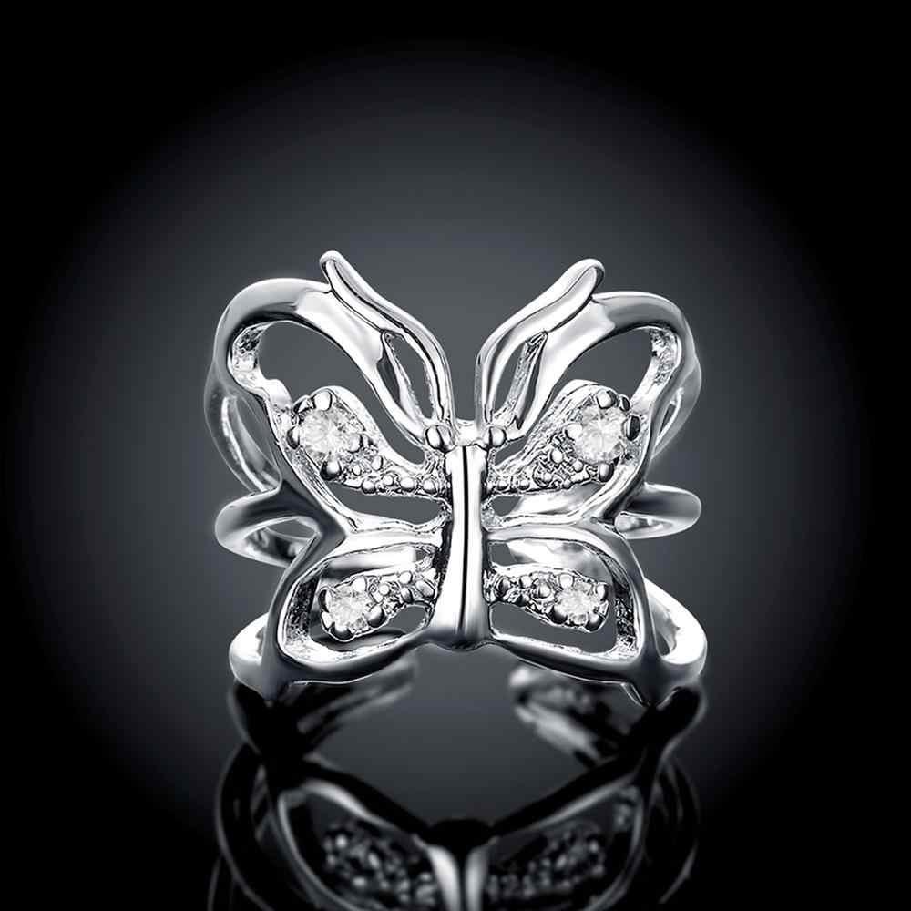 ผีเสื้อเปิดแหวน Zircon 925 เงินสเตอร์ลิงแหวนผู้หญิงเครื่องประดับเครื่องประดับ Anel Anillos Aneis Bague Anelli รักของขวัญ