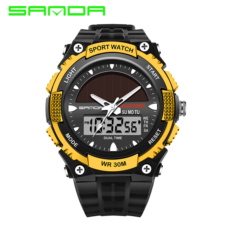 Digital Watches Trend Mark 2017 Sanda Brand Mens Solar Digital Watch Women Sports Relogio Masculino Relojes Gold Led Military Waterproof Wristwatches