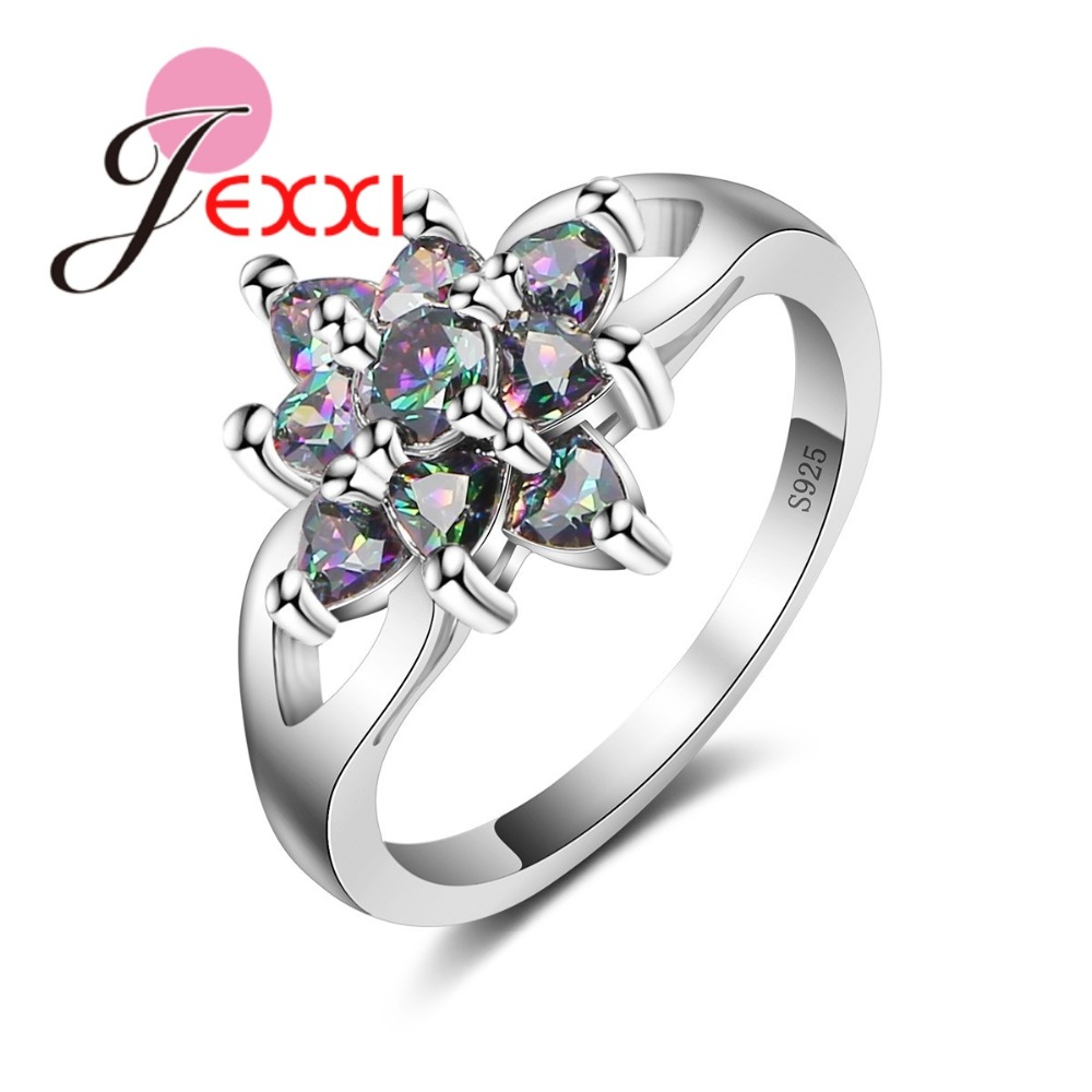 JEXXI Black Rainbow CZ Crystal Rings Jewelry 925 Sterling