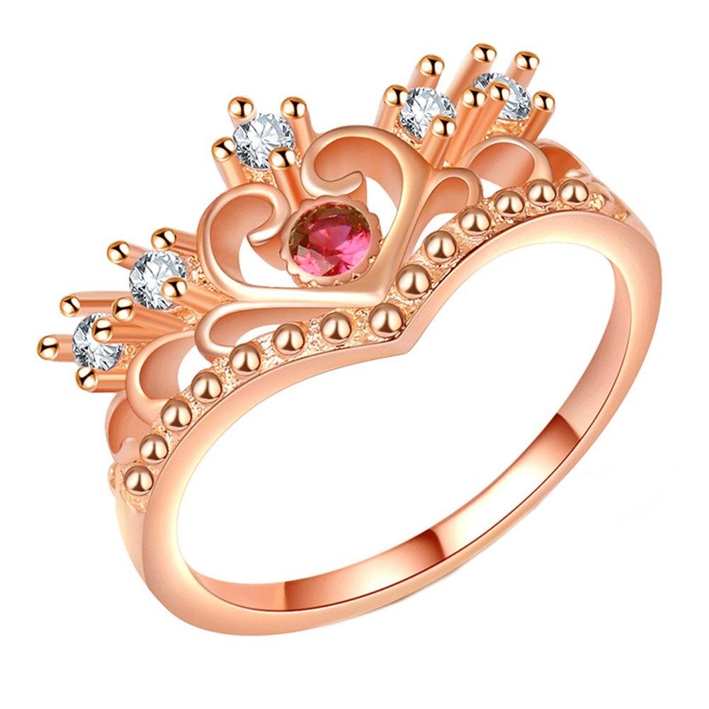 Anelli Di Modo Di Rosa Color Oro Anello Corona Cuore Di Amore Anelli Femminile Anelli Di Fidanzamento Per Le Donne Grandes De Mujer Completa In Specifiche