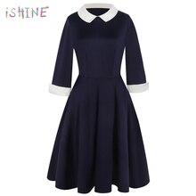 купить 2019 Spring Preppy Style Dress Cute A-line Peter Pan Collar School Preppy Style Dresses Casual Slim vintage Vestidos Plus Size по цене 1106.79 рублей