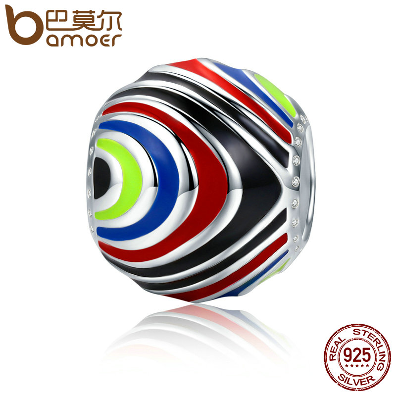 BAMOER Authentic 100% 925 Sterling Silver Distorted Space Rainbow Enamel Beads fit Women Bracelets Necklaces DIY Jewelry SCC294 брелок silver angel 120pcs diy 14x22mm a428 fit slide bracelets necklaces jewelry findings