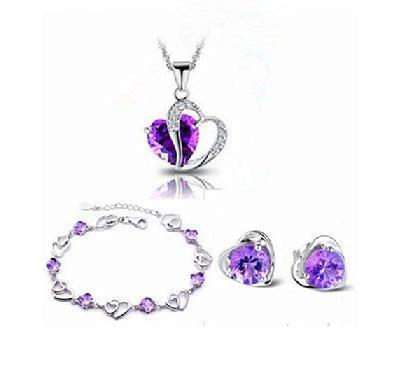 New Fashion heart design 925 sterling silver jewelry set cubic purple crystal necklaces & pendants 45cm 1set/lot