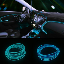 JURUS 1Meter Decorative Car Lights Interior Auto Ambient Light Flexible LED El Cold Neon Line Dashboard Door