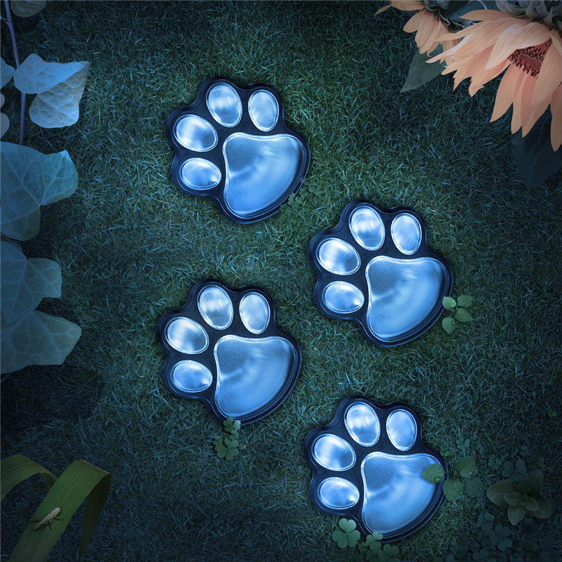Mising Outdoor 4 Animal Paw Garden Lights LED Solar Lawn Lamp Light Sensor Energy Lamp DIY 4 Bears Paws for Outdoor Garden Lawn ...