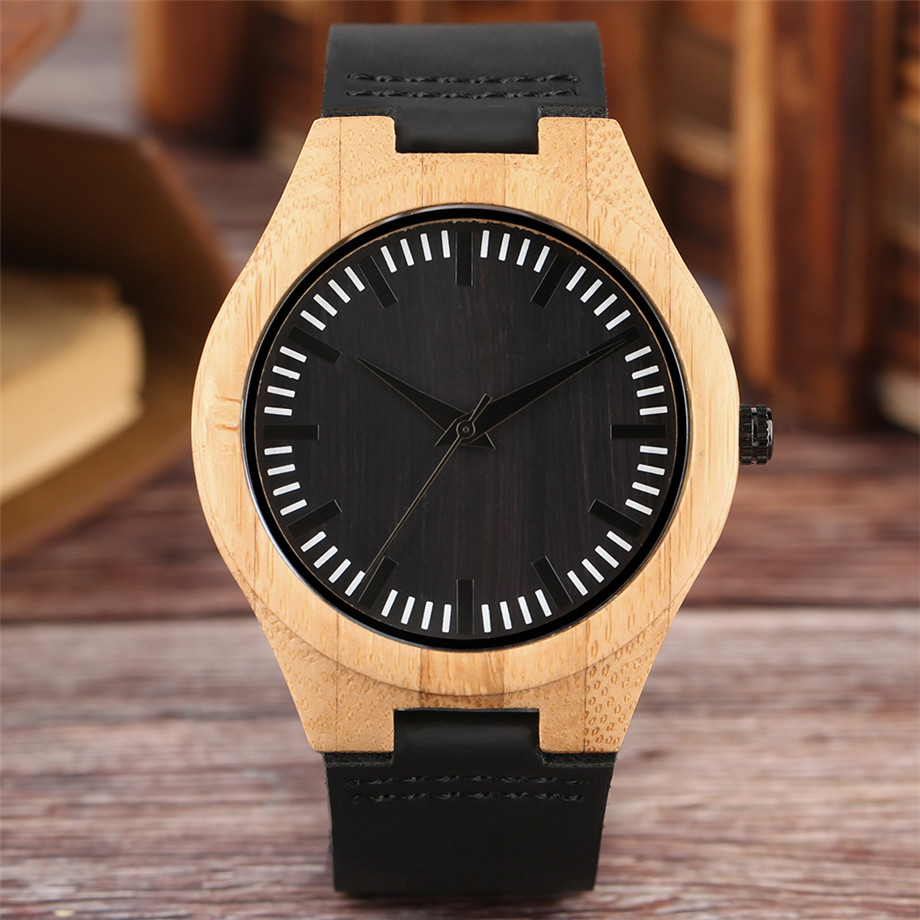 Black dial genuine leather band wood watch men07
