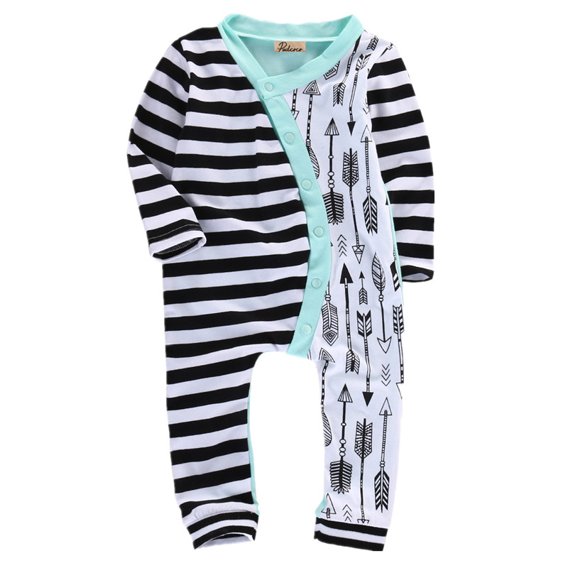 Infantil Toddler Newborn Baby Girl Baby Boy Unisex Stripe Arrow Cotton Blend Romper Casual Jumpsuit Outfits floral newborn baby girl kids sleeveless flower romper jumpsuit backless cotton sunsuit outfits