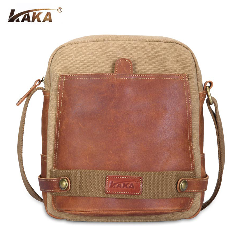 New KAKA Brand Designer High Quality Men Canvas and Cow Leather Messenger Bags Vintage Shoulder Cross Body Bags Cool Travel Bags