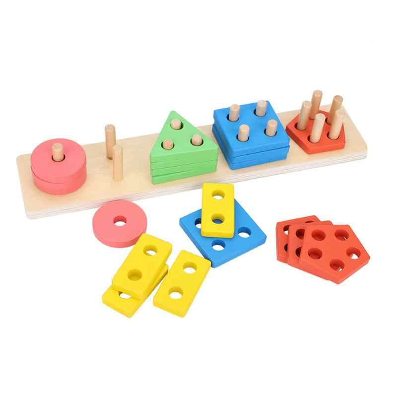 Colorful Geometric Block Toys Wooden Educational Montessori Toys 2018 Kids Children Wooden Block Preschool Educational Toys Gift
