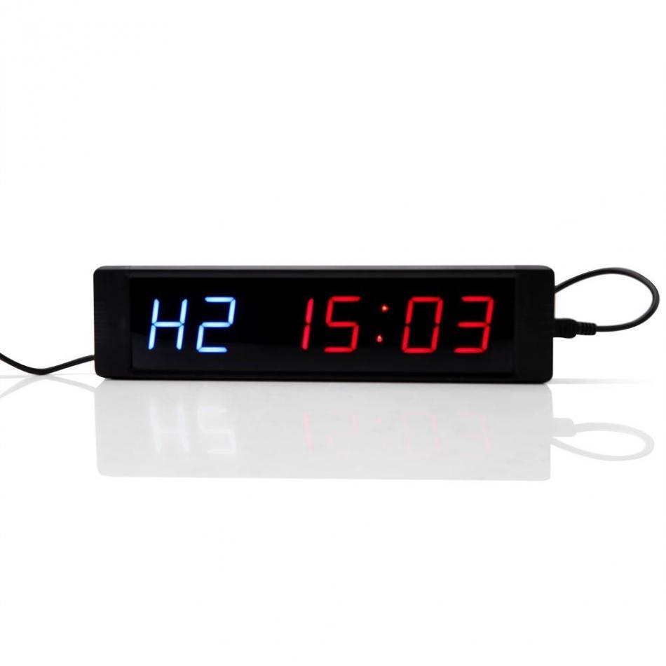 Horloge murale Programmable de minuterie d'intervalle d'affichage de LED de prise des usa avec à distance pour l'entraînement de forme physique de gymnase