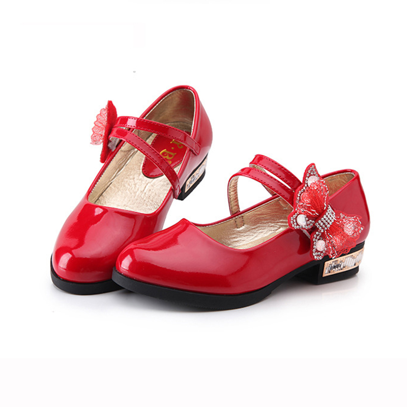 Teens Girls Patent Leatherr Red Wedding Party Shoes For Girls High Heel Bow Knot School Dance Perform Shoes 5 6 8 10 12 14 Years